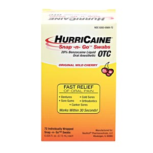 Beutlich Hurricaine® Topical Anesthetic Snap -N- Go™ Swabs